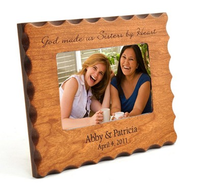 Personalized, Sisters By Heart, Natural Wood Photo Frame  -