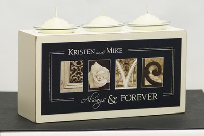 Personalized, Love Triple Votive Holder   -     By: Jennifer Blakeley