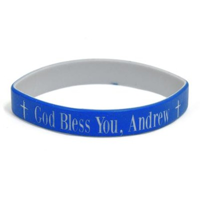 Personalized, God Bless You, Wristband, Bold, Blue   -
