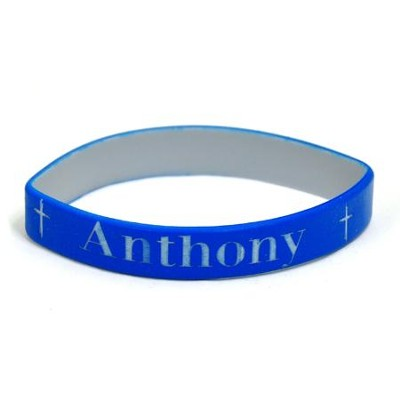 Personalized, Name in Bold, Wristband, With Cross, Blue   -