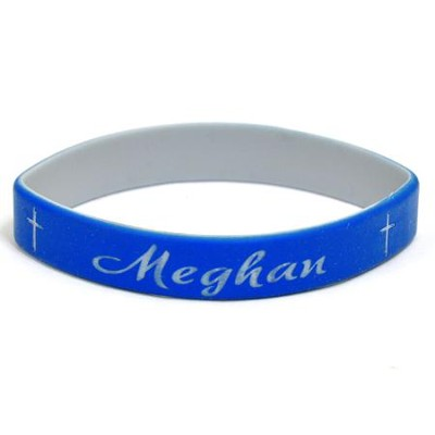 Personalized, Name in Script, Wristband, With Cross, Blue  -