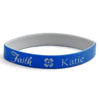 Personalized, Faith Wristband, With Name and Flower, Blue  -