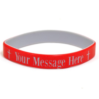 Personalized, Your Message Here, Wristband, Bold, With Cross, Red  -