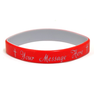 Personalized, Your Message Here, Wristband, Script, With Cross, Red  -