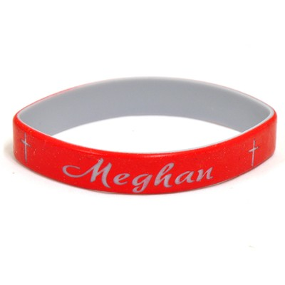 Personalized, Name in Script, Wristband, With Cross, Red  -