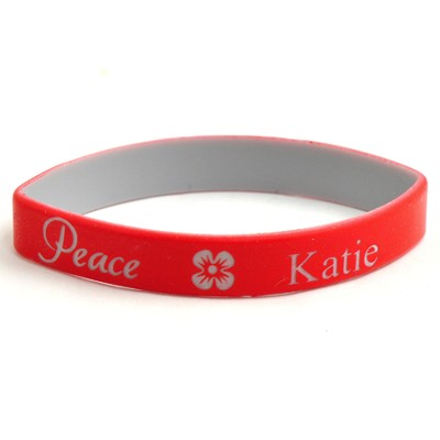 Personalized, Peace Wristband, With Name and Flower, Red  -