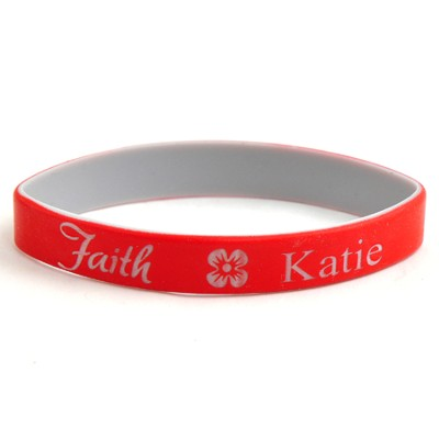Personalized, Faith Wristband, With Name and Flower, Red  -