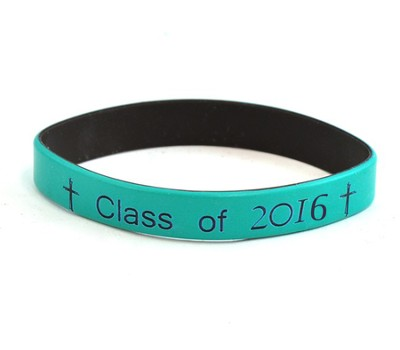 Personalized, Class Of, Wristband, With Cross, Teal   -