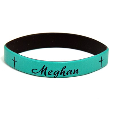 Personalized, Name in Script, Wristband, With Cross, Teal  -