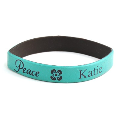 Personalized, Peace Wristband, With Name and Flower, Teal  -