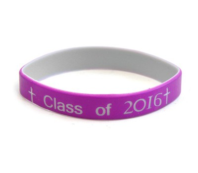 Personalized, Class Of, Wristband, With Cross, Purple   -