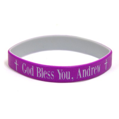 Personalized, God Bless You, Wristband, Bold, Purple   -
