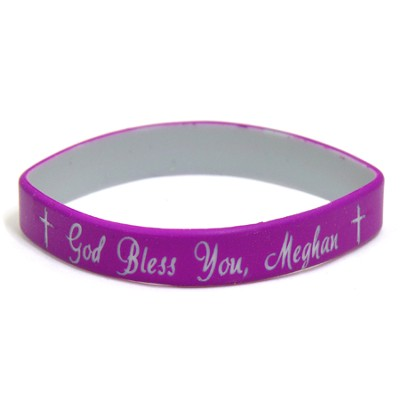 Personalized, God Bless You, Wristband, Script, Purple   -