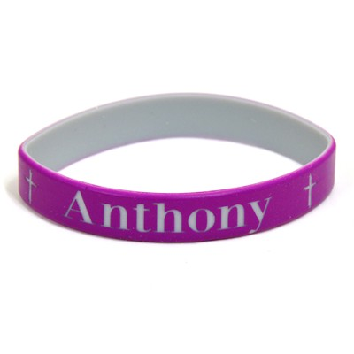 Personalized, Name in Bold, Wristband, With Cross,  Purple  -