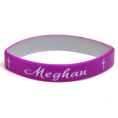 Personalized, Name in Script, Wristband, With Cross, Purple  -