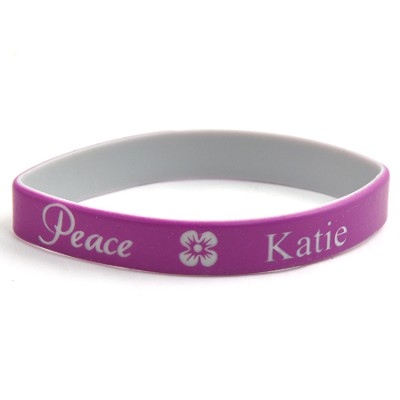 Personalized, Peace Wristband, With Name and Flower, Purple  -