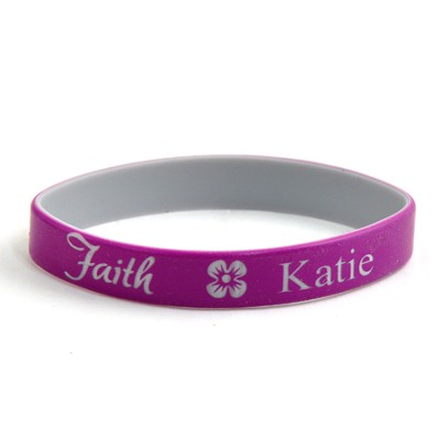 Personalized, Faith Wristband, With Name and Flower, Purple  -
