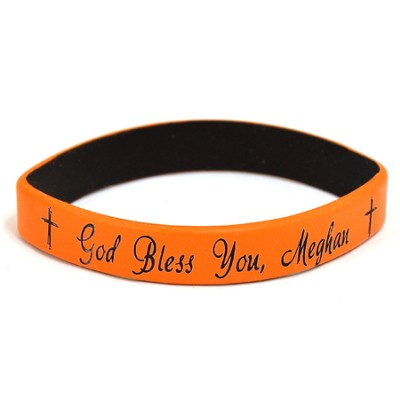 Personalized, God Bless You, Wristband, Script, Orange   -
