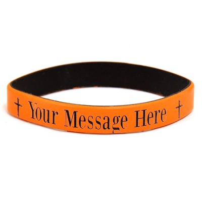 Personalized, Your Message Here, Wristband, Bold, With Cross, Orange  -