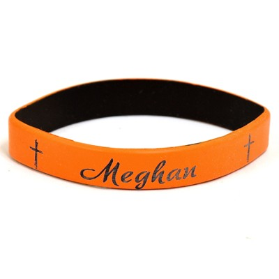Personalized, Name in Script, Wristband, With Cross, Orange  -