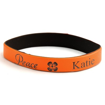 Personalized, Peace Wristband, With Name And Flower, Orange  -