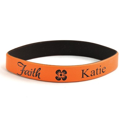 Personalized, Faith Wristband, With Name and Flower, Orange  -
