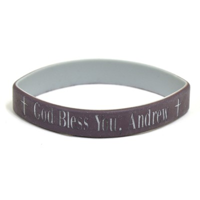 Personalized, God Bless You, Wristband, Bold, Brown   -