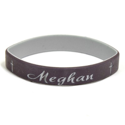 Personalized, Names in Script, Wristband, With Cross, Brown  -