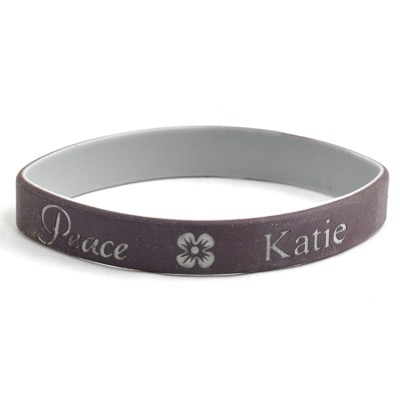 Personalized, Peace Wristband, With Name And Flower, Brown  -
