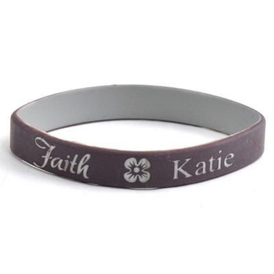 Personalized, Faith Wristband, With Name and Flower,  Brown  -