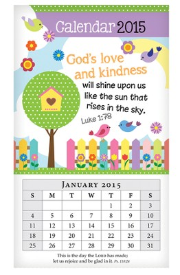 2015 Mini Magnetic Wall Calendar, God's Love and Kindness  -