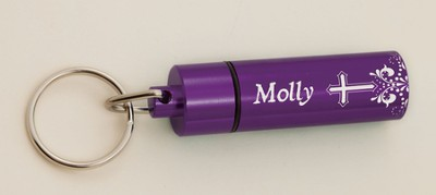 Personalized, Pill Box with Name and Cross, Purple   -