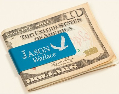 Personalized, Money Clip with Eagle and Name, Blue   -
