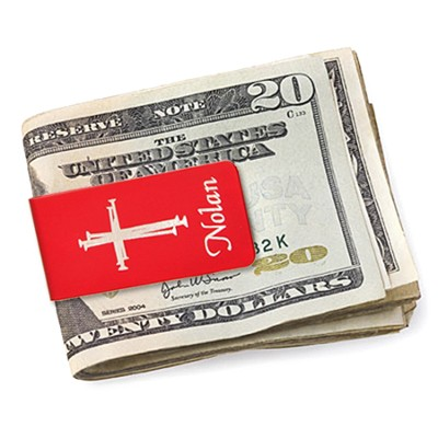 Personalized, Money Clip with Cross and Name, Red   -