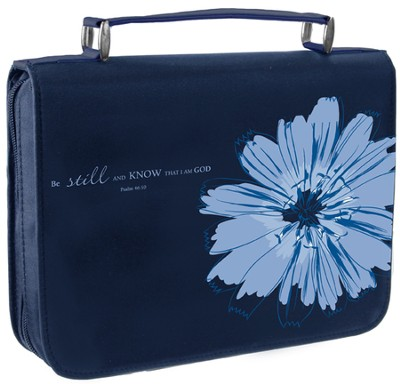 Be Still and Know Bible Cover, Blue, Large  -