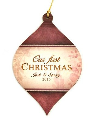 Personalized, Bulb Ornament, Red, Our First Christmas   -