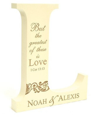Personalized, Mini Letter L, But The Greatest of These is Love  -