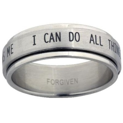 I Can Do All Things Spinner Ring, Size 8  -