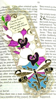 Suncatcher Bookmark and Magnet, Orchids and Dragonfly  -