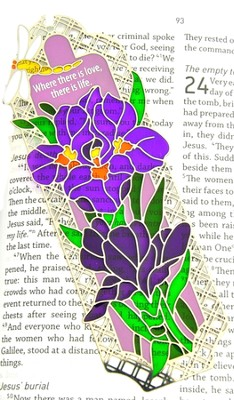 Suncatcher Bookmark and Magnet, Purple Irises  -