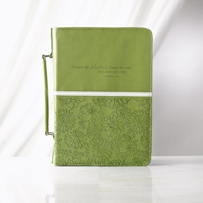 I Know the Plans Bible Cover, Green, Large  -