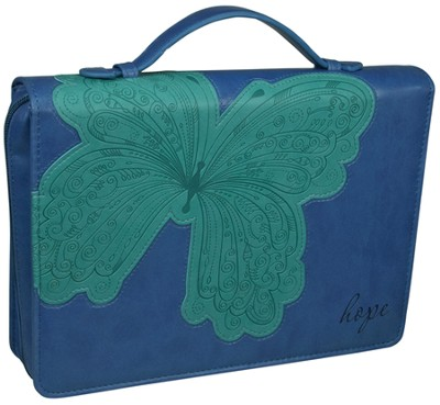 Hope Butterfly Bible Cover, Blue and Green, Large  -