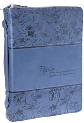Rejoice, Psalm 100:2 Bible Cover, Blue, Large  -