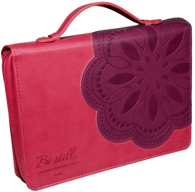 Be Still Flower Bible Cover, Pink and Purple, Medium  -