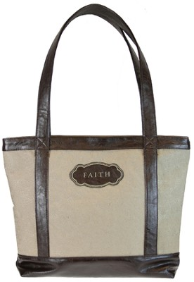 Micro-Fiber Tote, Faith, Tan   -