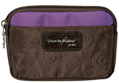 I Know the Plans Coin Purse, Brown and Purple  -