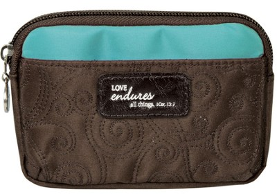 Love Endures Coin Purse, Brown and Teal  -