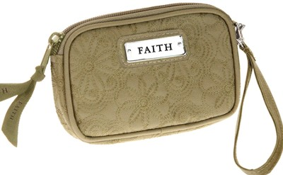 Embroidered Coin Purse Faith, Tan  -