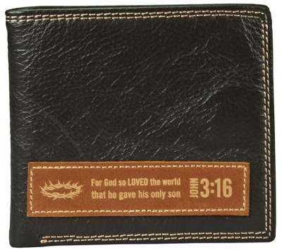 Genuine Leather Wallet John 3:16, Black  -