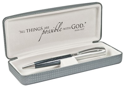 Executive Pen with Cross, Mark 10:27, Boxed  -